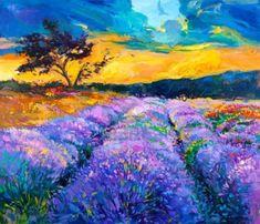 Pintura al óleo original de los campos de lavanda en canvas.Modern Impresionismo Foto de archivo