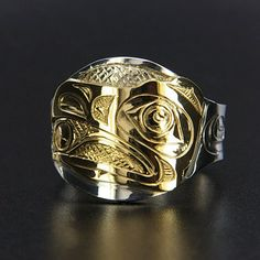 Raven and Sun Signet Ring Silver and Gold Northwest Native American First Nations Jewelry Silver Jewelry, Unique Jewelry, Jewelry Rings, Tribal Jewelry, Silver Bracelets, Jewelry Art, Jewelry Design, Jewellery, Signet Ring