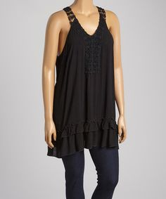 Love this Black Beaded Crochet Tank - Plus by Simply Irresistible on #zulily! #zulilyfinds