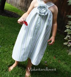 Girl's dress made from a man's dress shirt