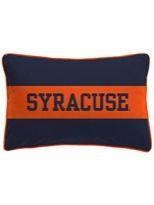 Preppy Syracuse University Navy Blue and Orange Rugby Stripe Varsity Pillow