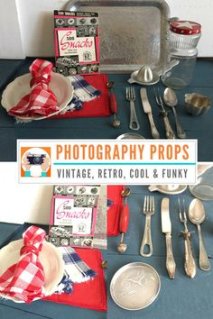 This is an amazing set of vintage food photography props! It includes everything shown (except for the board background). It would be great for your 4th of July pictures or with an Americana theme! Hip hip hooray for the red, white and blue! Use these fabulous items to jump start your creativity and photography!  This is a one of a kind set of vintage photography props, if you fall in love, get it before it is gone!  INCLUDES ---------------  • all pieces show  CONDITION…