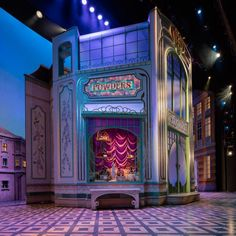"""The centerpiece of the design is a """"jewel-box"""" parfumerie that pivots open to reveal the store's elegant interior. (Broadway's She Loves Me) Set Design Theatre, Stage Design, Rockwell Group, Stage Set, Scenic Design, Vintage Circus, Stage Lighting, Display Design, Dark Fantasy Art"""