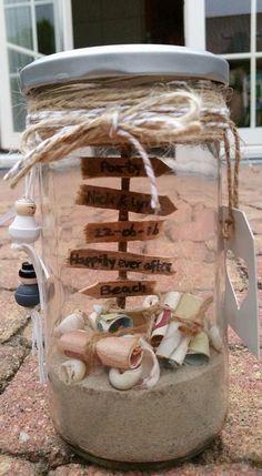 Hochzeitsgeschenk Geld im Glas, Geschenk, schenken, verschenken, Hochzeit, Geld, Sand, Strand,Muscheln, Liebe