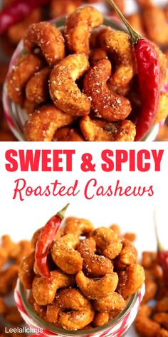 Recipes Snacks Videos Sweet and Spicy Roasted Cashews are a delicious, wholesome snack for cooler weather. Honey and chili powder give the yummy cashews their sweet heat and crunchy coating. It would also make a wonderful edible gift for the Holidays. Cashew Recipes, Snack Mix Recipes, Peanut Recipes, Appetizer Recipes, Cooking Recipes, Snack Mixes, Appetizers, Snacks Diy, Snacks Für Party