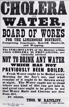 1866 - The Board of Works for the Limehouse district issues instructions to combat the spread of 'King' Cholera...