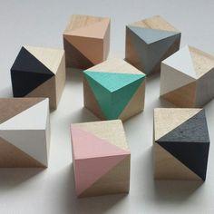 Sets of 4 baby blocks. Wood blocks, geometric decor, handmade toys, Scandi, nursery decor, wooden blocks