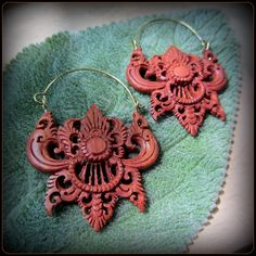 Carved Wood Earrings ~ layer through gauges eyelets tunnels ~ tribal festival fusion style ~ modern primitives, hippies, feral belly dancers by TalismanaDesigns on Etsy https://www.etsy.com/listing/200159298/carved-wood-earrings-layer-through