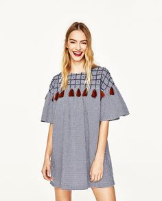 SHORT DRESS WITH EMBROIDERY AND POMPOMS-DRESSES-WOMAN | ZARA United States