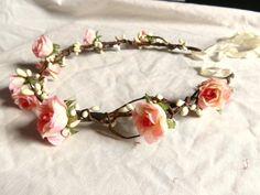 Woodland flower floral crown hair wreath pink por prettylittletitch