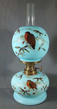 Lot: BIRD AND FLORAL DECORATED MINIATURE LAMP, Lot Number: 0199, Starting Bid: $150, Auctioneer: Jeffrey S. Evans & Associates, Auction: Victorian Lighting, Date: October 26th, 2013 EDT