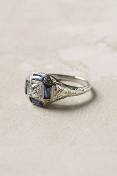 Art Deco sapphire ring from Anthropologie Art Deco Ring, Art Deco Jewelry, Jewelry Box, Jewelery, Sapphire Diamond, Diamond Jewelry, Silver Jewelry, Art Nouveau, Vintage Rings