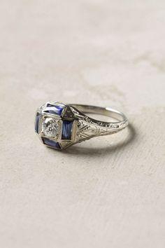 Deco Sapphire & Diamond Ring $1,038.00