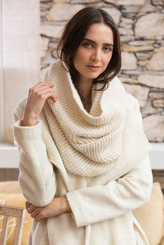 Simple beginner knitting pattern. Big Garter-Stitch Cowl by Jacqueline van Dillen knit in The Fibre Co. Tundra