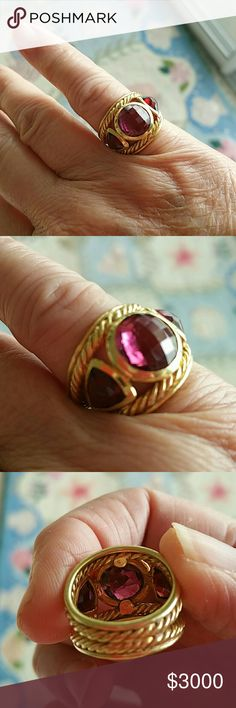 GORGEOUS DAVID YURMAN RING BEYOND GORGEOUS DAVID YURMAN RING... PINK TOURMALINE IN CENTER, 2 RUBY RED RHODILITES ON EITHER SIDE AND, SET IN 18K BEAUTIFUL SCROLL PATTERN GOLD!!! Jewelry Rings