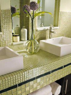 Tiled bathroom countertop  --- ok I know this would be awful to keep clean because of the grout - but how cool!