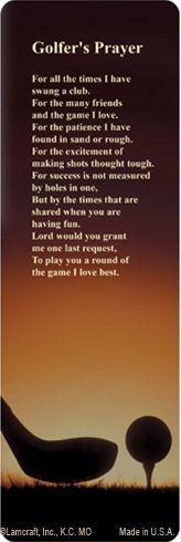 PMC Bookmark Golf, Golfer's Prayer verse #MemorialCard #Golf #GolfersPrayer ◉ re-pinned by http://www.waterfront-properties.com/pbgballenisles.php