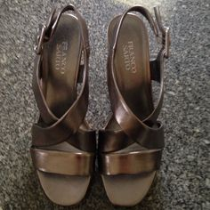 Franco Sarto cork and silver wedges 8 Worn Franco Sarto wedges. Very comfortable shoes. Franco Sarto Shoes Wedges