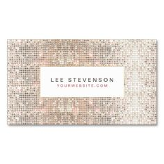 Fun Faux Silver Sequins Beauty and Fashion Retro Business Card Templates | Mirror Disco Ball