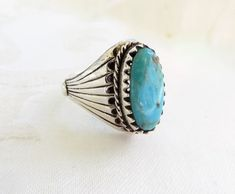 Navajo Turquoise Ring Sterling Mens Size 14.  Vintage sterling silver and turquoise ring for men in Size 14.  Beautiful center turquoise stone in tones of blue and green.  ...