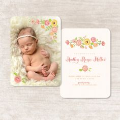 Hey, I found this really awesome Etsy listing at http://www.etsy.com/listing/124687422/baby-girl-floral-birth-announcement