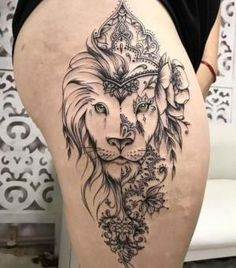 tatuaje para mujer de leon Lion Head Tattoos, Lion Tattoo, Tatoos, Full Tattoo, Future Tattoos, Tattoos For Women, Henna, Tatting, Thighs