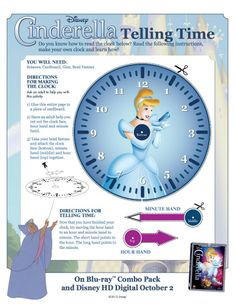 Disney Printable - Learn How to Tell Time with Cinderella
