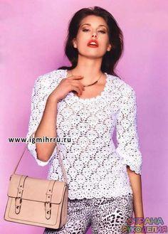 Белый ажурный пуловер - Жакет.Пуловеры.Свитер - Страна рукоделия