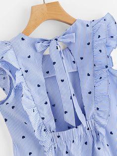 Shop Frill Trim Open Back Bow Tie Detail Striped Top online. SheIn offers Frill Trim Open Back Bow Tie Detail Striped Top & more to fit your fashionable needs. Fashion Kids, Fashion Outfits, Womens Fashion, Cheap Fashion, Fashion Clothes, Little Girl Dresses, Girls Dresses, Kids Outfits, Cute Outfits