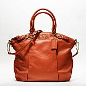 coach- madison leather lindsey satchel in persimmon! WANT!