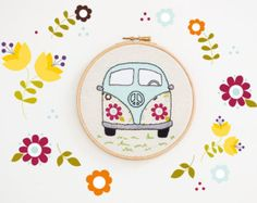 Embroidery hoop art, Retro flowers Volkswagen, VW camper, retro peace car, Hand embroidered wall décor, car collectible art, hippie chic