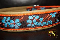 Handmade Martingale Leather Dog Collar FLOWER by by dogsartcollars
