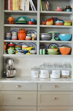 I love this! I need to start collecting more colorful dishes.........