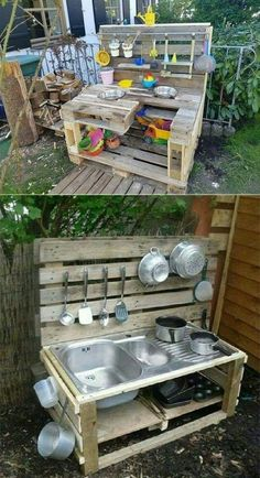 17 Cute Upcycled Pallet Projects for Kids Outdoor . - 17 Cute Upcycled Pallet Projects for Kids Outdoor … – Source by annesch Outdoor Fun For Kids, Outdoor Play Areas, Backyard For Kids, Backyard Projects, Diy Pallet Projects, Pallet Ideas, Furniture Projects, Wood Projects, Diy Furniture