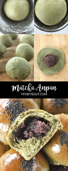 Matcha Anpan (Japanese green tee bread rolls with red bean filling)