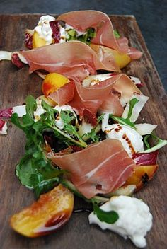 Grilled Pears with Burrata, Speck and Grilled Radicchio