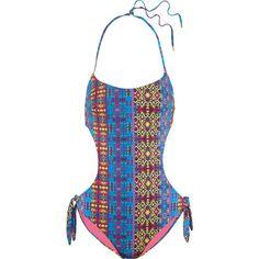 Matthew Williamson Cutout printed swimsuit (808935 PYG) ❤ liked on Polyvore featuring swimwear, one-piece swimsuits, purple, purple swimsuit, swim suits, purple bathing suit, purple one piece swimsuit and cut-out swimwear
