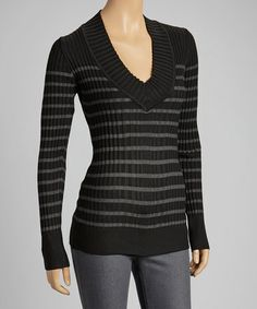 Take a look at this Black & Charcoal Stripe V-Neck Sweater by Yoki: From $9.99 on @zulily today!