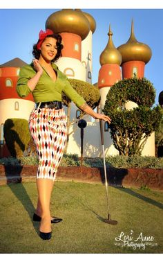 Deadly Dames Capri Pants in Harlequin Print #Golf anyone?  #Pinup Girl Clothing #SEXY