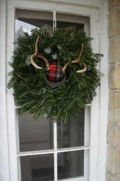 Woodland Glam Door Decor--plaid antlers and fresh greens  #upscaledownhome