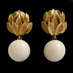 1950s 14K Gold and Angel Skin Coral Earrings