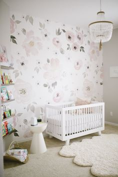 Project Nursery - Floral Wallpaper in Pink and Gray Nursery