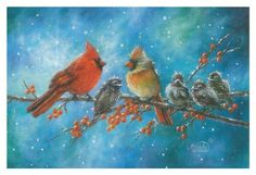 Framed Cardinals Family Print