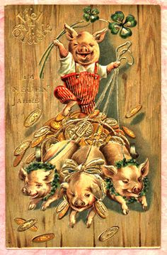Dressed Pig New Year Postcard 1 Team Driven Piggies Pull Load of Gold Coins… Vintage Happy New Year, Happy New Year Cards, Vintage Greeting Cards, Vintage Postcards, Weird Vintage, Vintage Stuff, Pig Images, Happy Pig, New Year Postcard