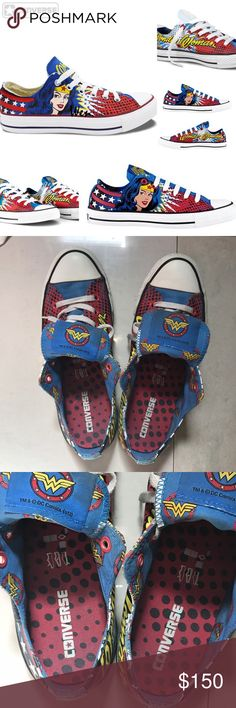 CONVERSE & DC COMICS 💥WONDER WOMAN 💥SHOES These are PRE-LOVED CONVERSE SHOES with WONDER WOMAN theme.  SIZE :8 men / 10 women.  Unisex.  NO BOX.  NO TAGS. Just a pair of super cool shoes and a COLLECTORS ITEM. Converse Shoes Sneakers
