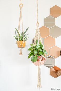 Spiegel, Kupfer und grüne Zimmerpflanzen sind eine tolle Kombination – leicht zum Selbermachen!
