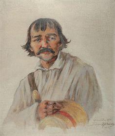 Tadeusz Rybkowski: Portret wieśniaka; olej, płótno naklejone na tekturę, 35 x 28,5 cm (w świetle oprawy); sygn. p. d.: Wiszenka 1910 /