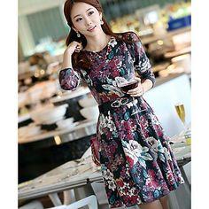 В.С. женский стиль Мода Элегантные Slim Fit цветочным принтом платье – RUB p. 647,68