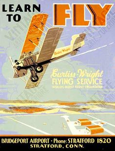 """Vintage Aviation """"Learn to Fly"""" print. Love this one."""