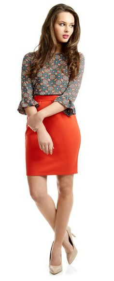 For the perfect work wear outfit, team this bright pencil skirt with this eye-catching printed top and you will definitely be bang on trend. Work Wear, Pencil, Range, Bright, Eye, Printed, Clothes For Women, Lady, Skirts